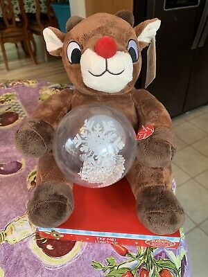 Musical Rudolph The Red Nosed Reindeer Spinning Snowglobe Spelling Xmas Words