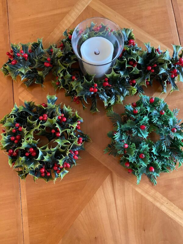 Vintage Plastic  Holly Berry Christmas Candle Rings 3