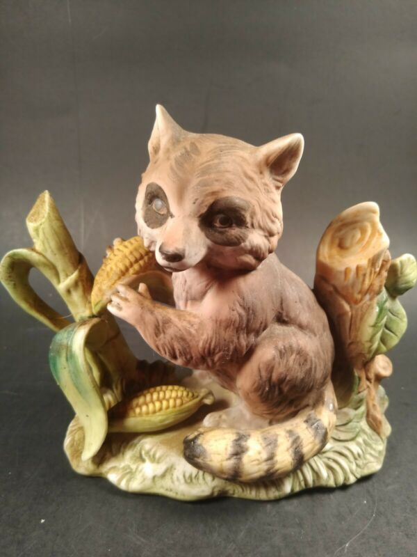Vintage Raccoon Bisque Figurine