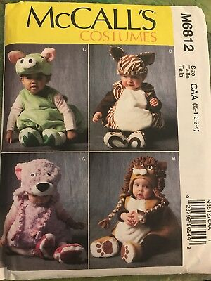 Pig Costume Pattern (McCall's MP312 6812 Baby Animals Pig Zebra or Lion Bear Costume Pattern Sz)