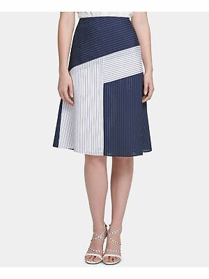 DKNY $79 Womens New 0198 Blue Color Block A-Line Casual Skirt 10 B+B