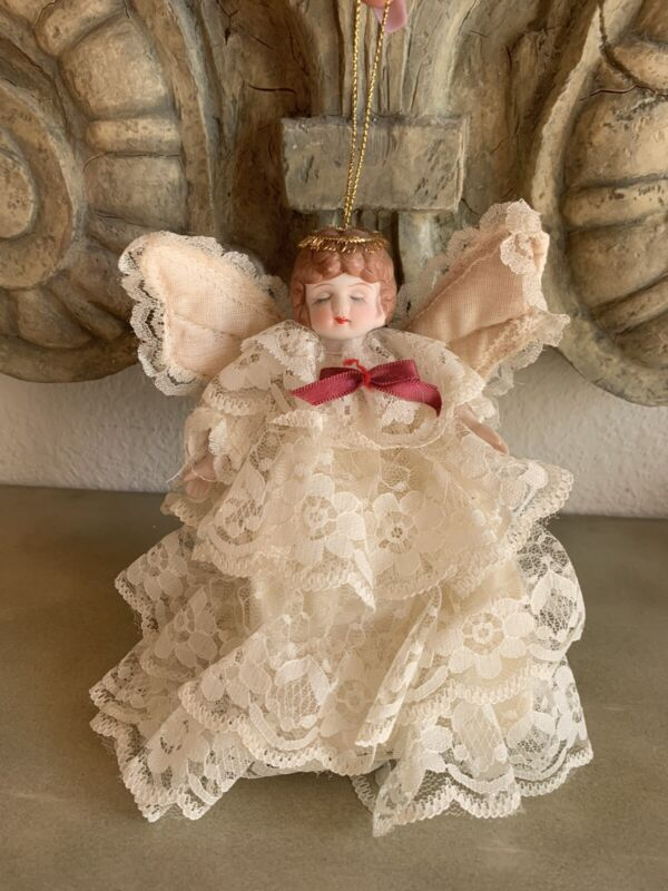 Vintage Tree Top Angel Ornament Porcelain Head and Hands Lace Gown TAIWAN