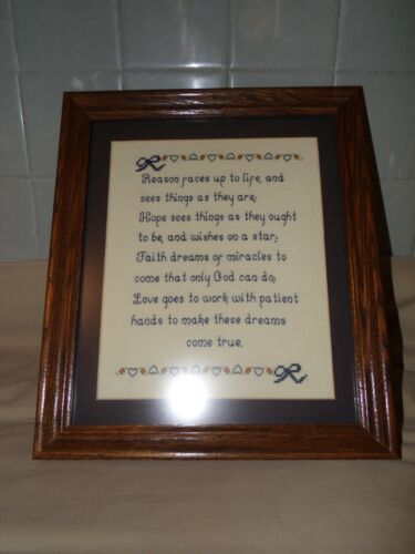 MATTED FRAMED CROSS STITCH NEEDLE WORK SAMPLER REASON FACES UP TO LIFE 12 X 14""