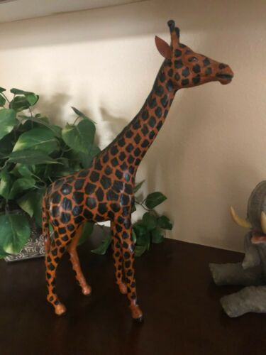 """Tall Vintage Giraffe Statue With Leather Ears 18"""" Tall Brown & Black Pls Read*"""