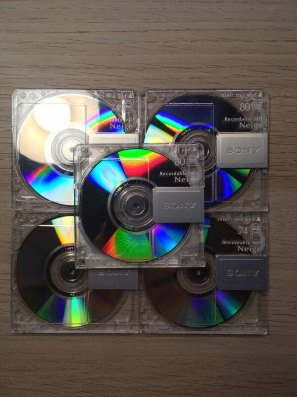 Sony Neige 74 min Minidisc MD LOT of 5 with case Please Read Description