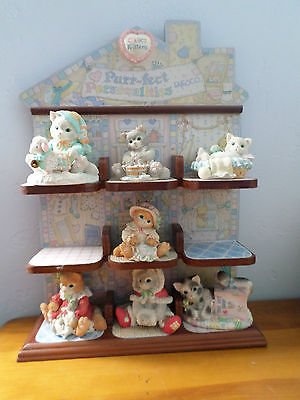 ENESCO CALICO KITTENS Lot Of 8 With Perfect Personalities Display Shelf