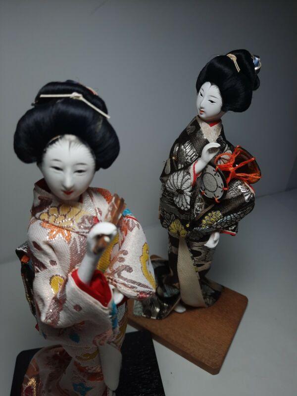 Geisha Figurine Girls Japanese Made In Japan Brocade Kimono