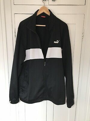Puma Mens Jacket Xxl Black White Zip Pockets Polyester