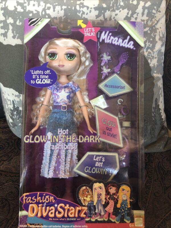 """11""""New In Box 2002 Mattel Miranda Diva Starz Doll Accs Glows In The Dark Talks"""