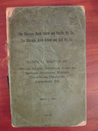 1929 general roster Chicago, Rock Island, Pacific, Gulf railroads 300 pages
