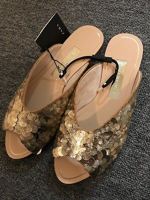 Zara Woman Gold Sequinned Metallic Mules Slides Flat Size 5 NWT Slippers Shoes, used for sale  Lakewood