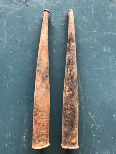 "Vintage Antique Iron Railroad Round Wedge Splitter Punch Spike Nail 11"" Lot of 2"