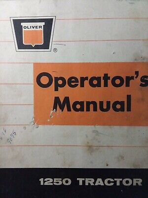 Oliver 1250 Diesel Gasoline 4wd 2wd Farm Tractor Owners Maintenance Manual