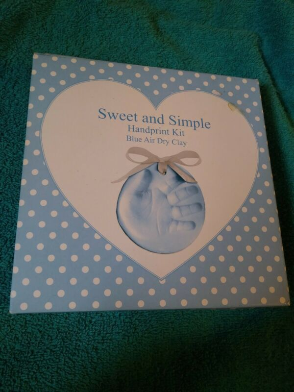 Sweet And Simple Baby Handprint Ornament Kit Blue Air Dry Clay