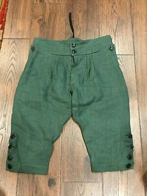 Green French and Indian F&I War Button Fly Breeches for Rogers Rangers Handmade