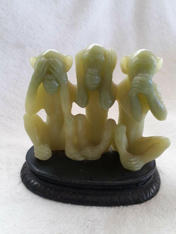 "Vintage 3 Wise Monkeys Figurine Polyresin Jade Speak,See,Hear No Evil 4"" Tall"