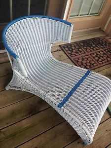 White/blue WICKER CHAIR, unique low to ground,$10