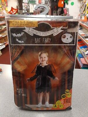 Scary Fairy Costumes (KIDS CREEPY SCARY BAT FAIRY HALLOWEEN COSTUME FANCY DRESS OUTFIT 3-4)