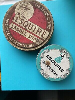 Vintage Esquire Saddle Soap Tin And Leather Cream Glass Jar