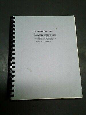 Mazak Operating Manual For Mazatrol Matrix Nexus -turing Machines  Ms-285
