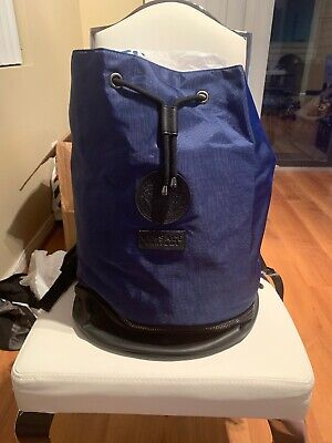 Unisex Versace Parfums Bucket Bag Backpack Blue Black New Authentic