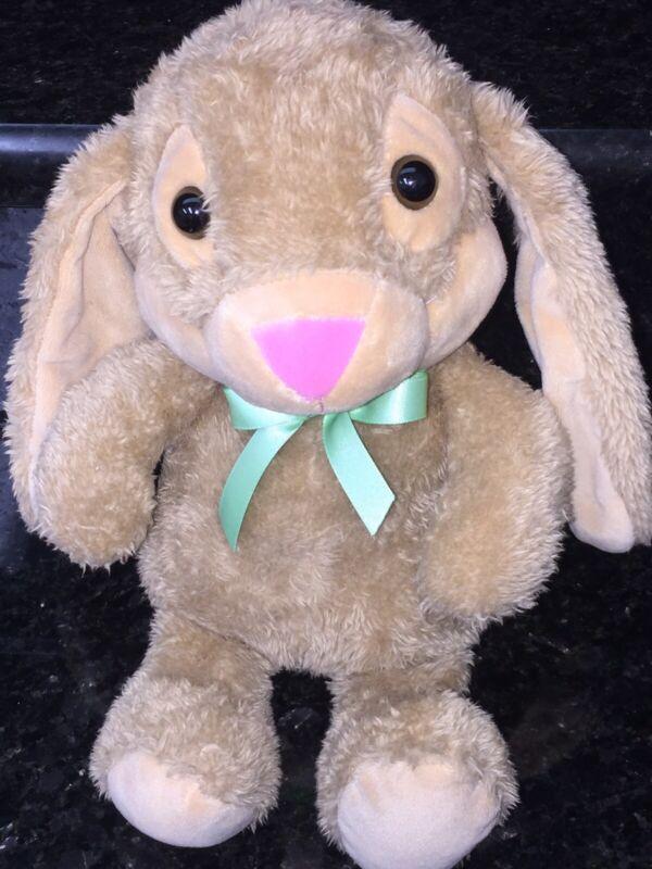 "Hallmark Tan Bunny Rabbit Pink Nose Plush Stuffed Toy 11"""