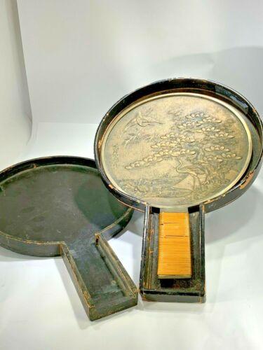 Antique Meiji Japanese Brass Very Ornate Hand Mirror with Original Case