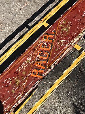 RARE ANTIQUE 8'TRAVERSE SLED Wood Bobsled Toboggan CABIN WINTER Decor AAFA