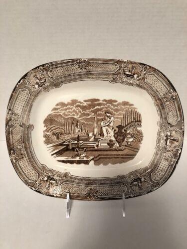 Antique Burslem England Brown Transferware Platter