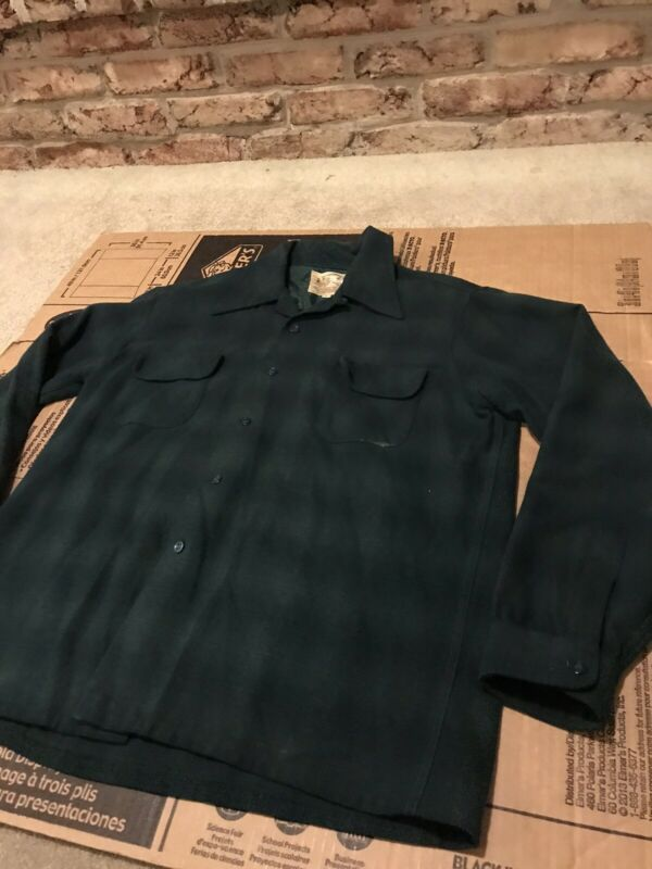 Herters Herterton Vintage Wool Loop Collar Shirt RARE Shadow Plaid Thick Awesome