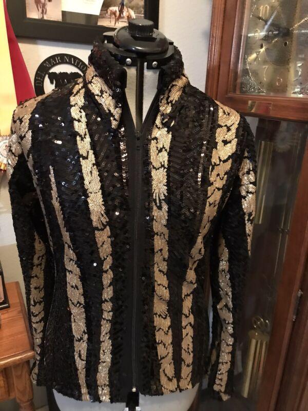 Western pleasure horsemanship Showmanship Parade Black & Gold Sequin Show Jacket