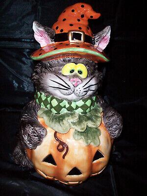 RARE FITZ & FLOYD SCAREDY CAT COOKIE JAR ~ HALLOWEEN CAT IN JACK-O-LANTERN VHTF