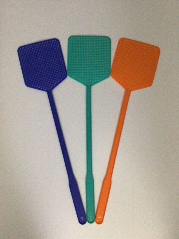"""3 PC NEW 17"""" LONG PLASTIC FLY SWATTER 3 ASSORTED COLOR PACK INSECT WASP KILLER"""