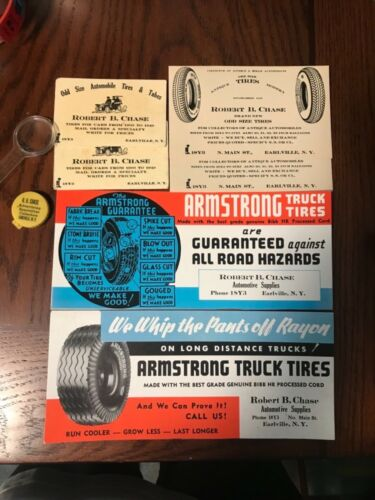 ROBERT B. CHASE AUTOMOBILE TIRES CARDS POSTCARDS INK BLOTTERS Earlville New York