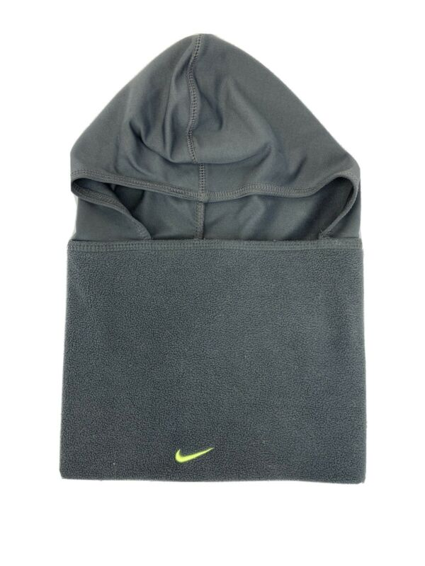 Nike Unisex Youth Gray Fleece Hooded Neck Warmer Scarf Sz 8-20