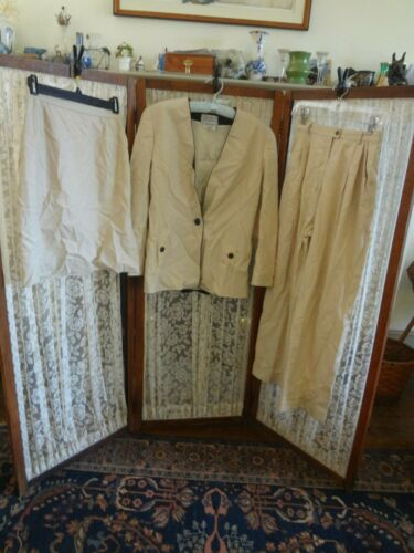 Vintage clothing lot 80s Ognibene Zendman suit jacket skirt pants cream black S