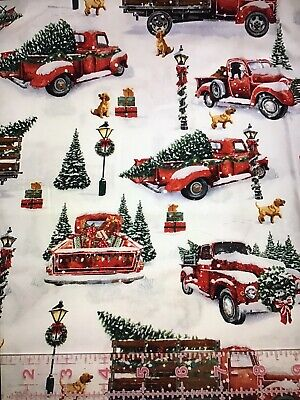 """Fat Quarter RED TRUCKS With Trees Christmas Holiday Cotton Fabric 18"""" X 21"""" FQ"""