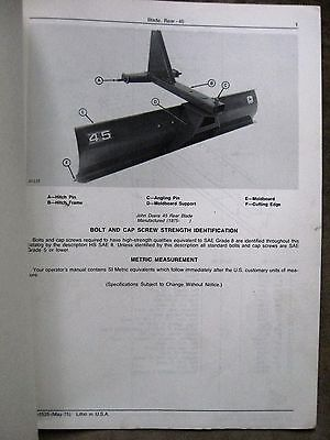 John Deere 45 Rear Blade Parts Catalog Manual Original