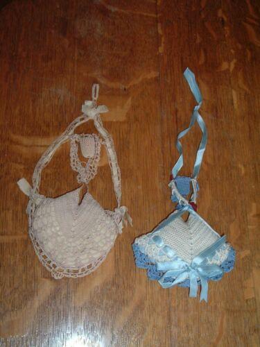 2 Vintage Crochet & Ribbon Hanging Pincushion Thimble Holder Victorian Wishbone