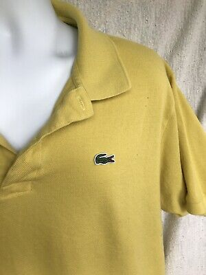 Vintage Alligator Logo Lacoste Vintage Polo Mustard Yellow Shirt Eu 8 USA Design