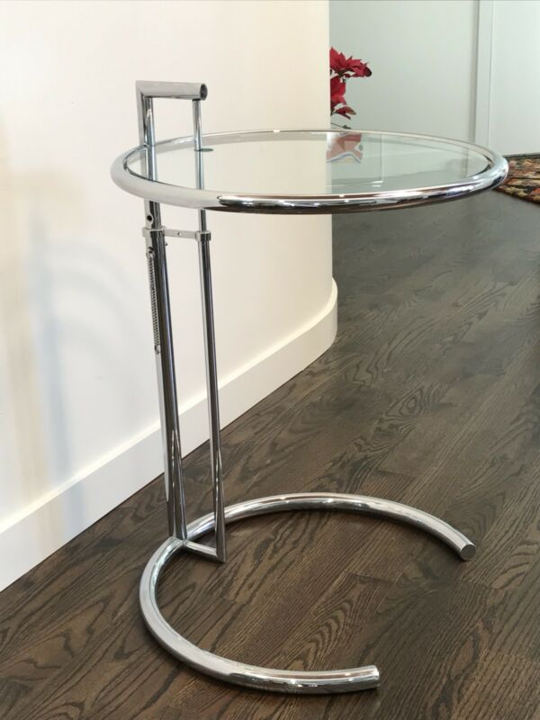 Vintage Modern Eileen Gray Adjustable Chrome And Glass Side Table