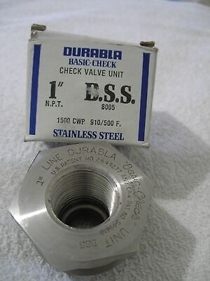 Durabla 8005 Check Valve 1 Bss 1 Npt Inlet 1500 Cwp Stainless Steel New