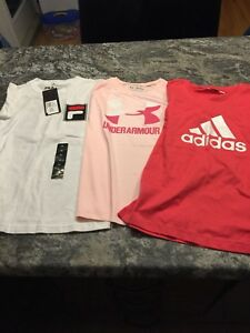 Girls athletic t-shirts size 10, Adidas, Underarmour and Fila