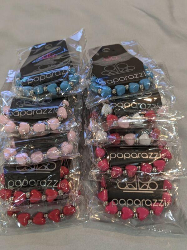 "Paparazzi - Starlet Shimmer - Heart Bracelets -  Kids - Lot of 10 - Pack - ""NEW"""