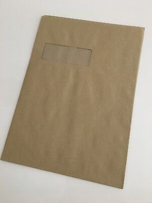 50 x C4 A4 Manilla Brown Window 115gsm Peel & Self Seal VERY Strong Postal