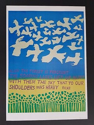 1960s ORIGINAL FLOWER POWER FOREST BIRD POSTER BY RILKE IN THE MOVIE LOVE STORY