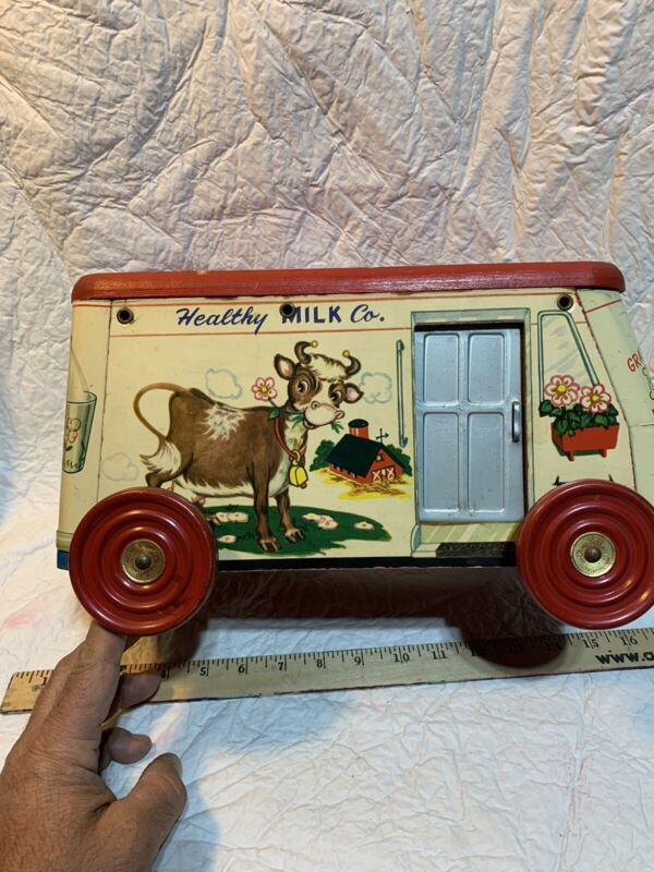 Rare 1940-1950 Gong Bell Toy Co.123 Healthy Milk Co Toy Truck