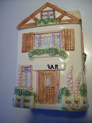 Victorian Cottage Gardens - OCI Sugar Victorian Cottage Garden House Home Canister Tan Roof Fence @ cLOSeT