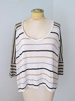 Ella Moss tissue t-shirt rayon knit top black tan stripe boxy drapey dolman (Rayon Tissue)