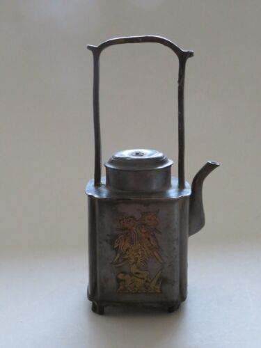 ANTIQUE CHINESE PEWTER & BRASS TEAPOT --- SQUARE SHAPE --- QING --- 19TH CENTURY